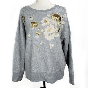 J.Crew Embroidered Flower Sweatshirt Size XL